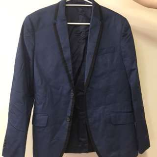 H&M Navy Trimmed Dinner Blazer