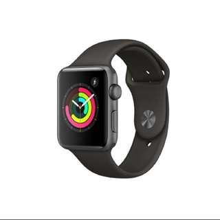 APPLE WATCH SERIES 3 GPS, 42MM SPACE GREY ALUMINIUM CASE WITH GREY SPORT BAND