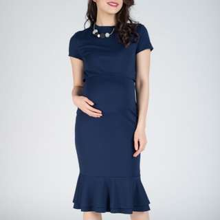 Maternity and nursing dress navy blue BNWT