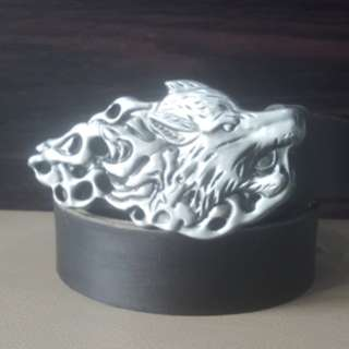 3D Wolf Buckle and Leather belt