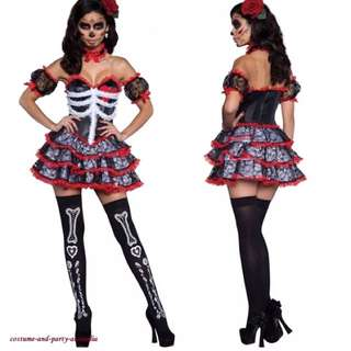 DAY OF THE DEAD MEXICAN WOMENS COSTUME