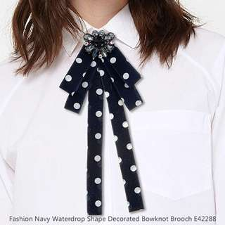 Fashion Navy Waterdrop Shape Decorated Bowknot Brooch E42288