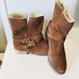 Brand New Sara Wide Fit Brown Suede Boots