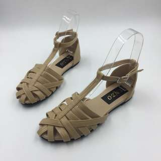 Beige Shoes with Ankle Strap