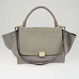 CELINE Trapeze 98% NEW - Grey Crocodile Stamped Nubuck and Smooth Leather Medium Trapeze Bag - GUARANTEED AUTHENTIC