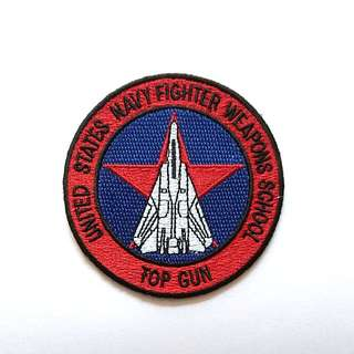 Top Gun Navy Fighter Jet Weapons School F-14 Tomcat Iron On Patch