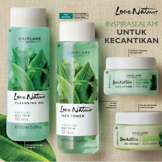 """Pre order, Facial wash (cleansing gel), toner, face lotion tea tree """"love nature"""" by oriflame"""