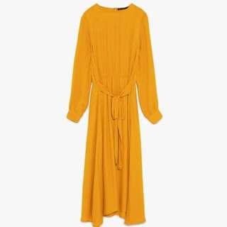 Authentic Zara Yellow Mustard Maxi Dress