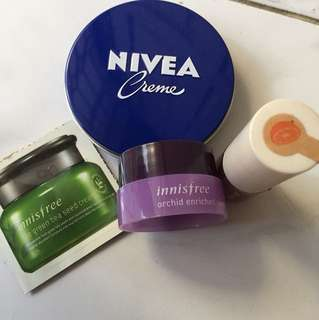 paket innisfree dan nivea liptint and cream