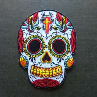 Sugar Skull Swallow Craft Iron On Patch