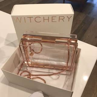 Witchery rose gold clutch bag translucent Perspex