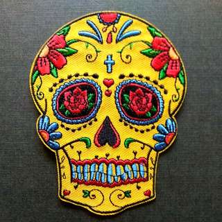 Sugar Skull Rose Craft Iron On Patch
