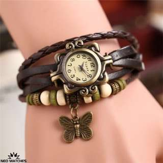 😻Fashionable Weave Leather Bracelet Analog Watch - Coffee😻