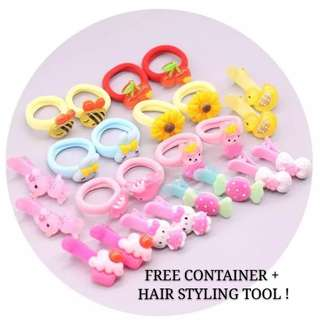 24 hair clips hair bands + FREE accessories container and hair styling tools