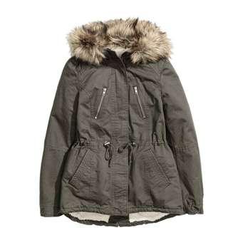 H&M 毛領連帽抽繩收腰帆布外套(含運)