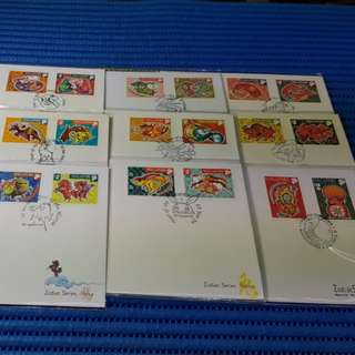 1996 to 2004 Singapore Zodiac Series Special Stamp Issue First Day Cover ( Lot of 9 FDC: Rat, Ox, Tiger, Rabbit, Dragon, Snake, Horse, Goat and Monkey )