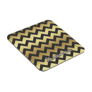 Personalized Coasters - Pattern - Chevron (Black & Gold)