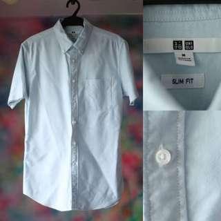 UNIQLO Button Up Polo Shirt Light Blue