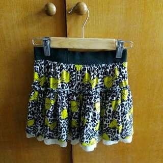 豹紋黃色蝴蝶結短裙