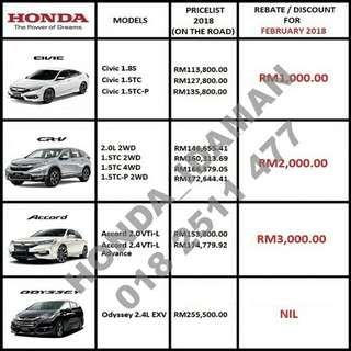 HONDA CNY REBATE FEB 2018