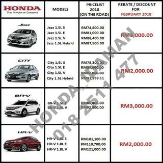 HONDA CNY REBATE FEBRUARY 2018