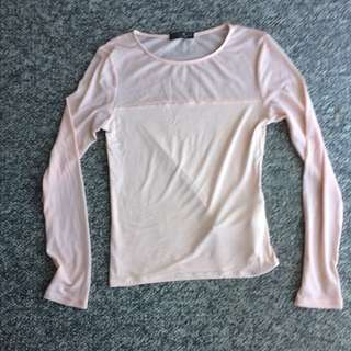 Light Pink Semi-Mesh Top