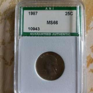 評级幣美國1987年25C  MS66