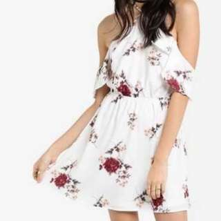 SOMETHING BORROWED Floral Back Slit Shoulder Dress