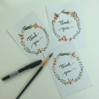 Calligraphy & Watercolour Floral Wreath Thank You Card