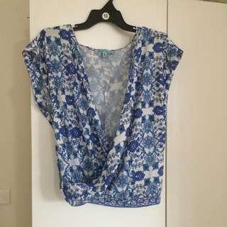 Crop Blue Floral Wrap Top