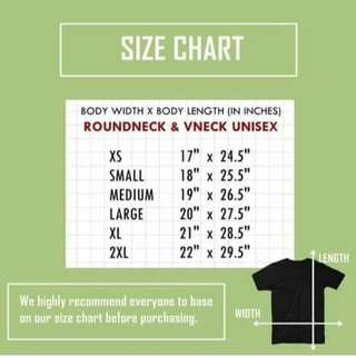 Size chart for the shirts