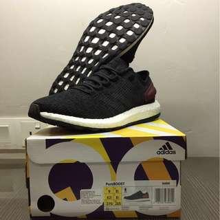 "Adidas PureBOOST ""Black/Black/Burgundy"" UK8.5 #take10off"