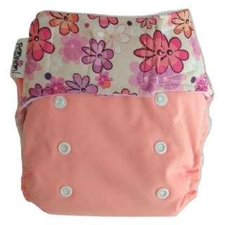 Clodi Popok Kain Bayi Pem Pem Velcro Ori Microfiber Cloth Diaper - Cream Flower