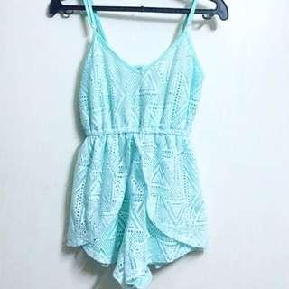 Mint Blue Lace Romper