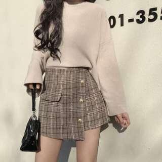 全新現貨韓國格仔不規則半身裙