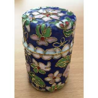 Vintage Chinese Cloisonne Opium Cannister