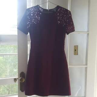 Oasis Size 8 Plum Red Dress With Lace