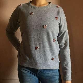 Gray beaded pullover