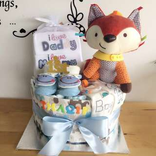 Baby Premium Diaper Cake 1-Tier for New Born Boy / Baby Shower Gift / Birthday Present