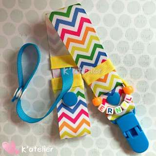 Rainbow Zigzag Stripes Personalised Pacifier Clip with Pacifier Cover Strap