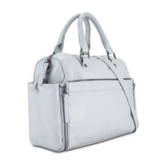 SOMETHING BORROWED Moto Boston Bag in Grey