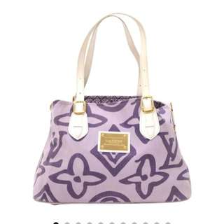 Louis Vuitton Purple Leather and Cotton Cabas Tahitienne