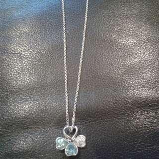Blue Clover heart necklace