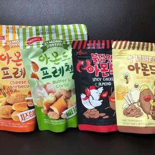 韓國果仁蜂蜜,香辣,蒜香,芝士味,辣雞,180g/200g 每包      $34