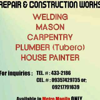 REPAIR AND CONSTRUCTION WORKS!