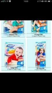 Drypers tape M, L,  XL