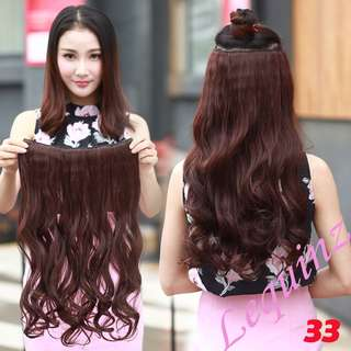 5 Clips Hair Extensions Curly Wavy Maroon Wine Red 2 for $30 !