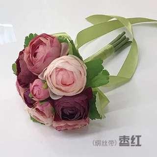 Flower Bouquet - dark red, pink