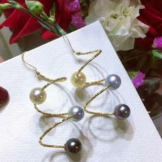 18k金彈力耳環,8-10mm三色海水珍珠,個性又時尚的單品,💰💰優惠價發售,歡迎咨詢訂購😊