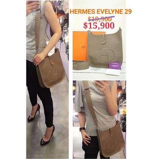 90% New HERMES Evelyne III 29 Etoupe 大象灰色 皮革 肩背袋 斜背袋 手袋 Leather Handbag